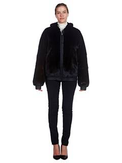Woman's Reversible Black Leather and Mink Fur Zip Jacket