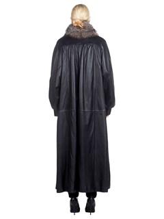 Woman's Full Length Szor-Diener Black Leather and Fox Fur Coat