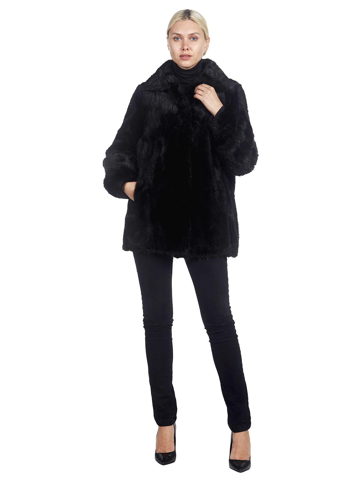 Woman's Black Dyed Muskrat Fur Jacket