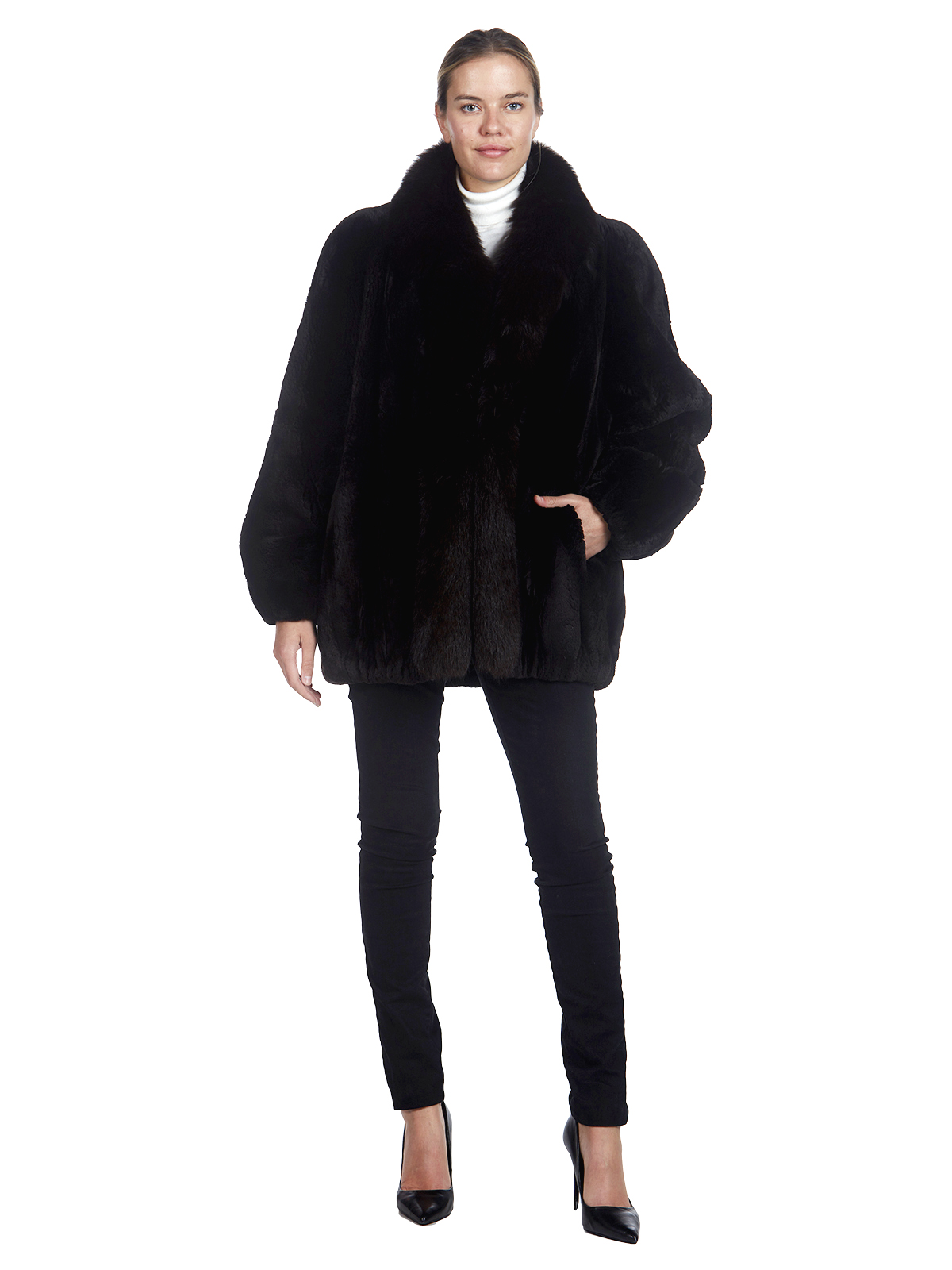 Woman's Dark Brown Sheared Beaver Fur and Fox Fur Jacket