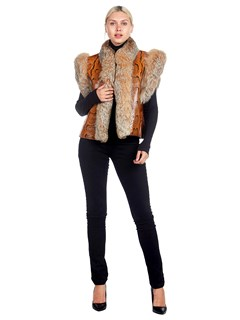 Woman's Orange Snakeskin and Lynx Fur Vest