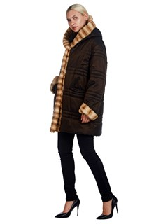 Woman's Giuliana Teso Brown Nylon Puffer and Mink Fur Parka