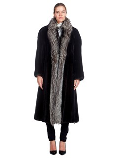 Woman's Ranch Mink Fur and Silver Fox Fur Coat