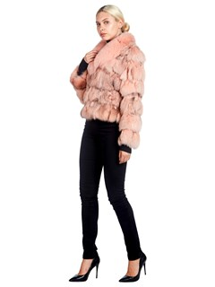 Woman's Pink Dyed Fox Fur and Rabit Fur Jacket