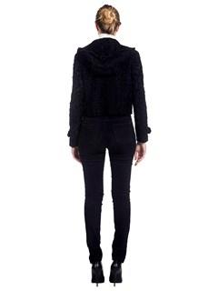 Woman's Ralph Lauren Black Broadtail Lamb Hooded Jacket