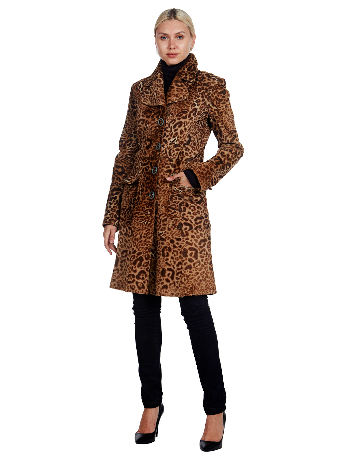 Woman's Georgio Armani Leopard Printed Lamb Coat