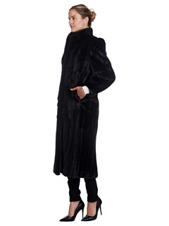 Woman's Full Length Leppert Roos Lunaraine Mink Fur Coat with Padded Shoulders