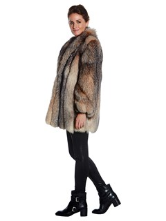 Woman's Crystal Dyed Fox Fur Jacket