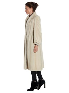 Woman's Beige Dyed Saga Mink Fur Coat