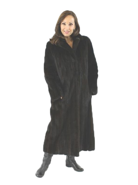 Woman's Petite Full Length Ranch Mink Fur Coat