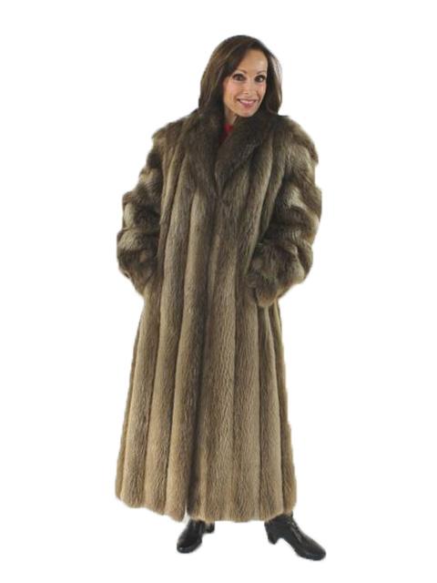 Woman's Full Length Long Hair Beaver Fur Coat
