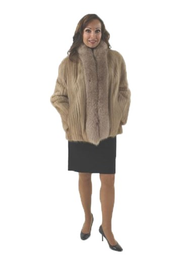 Pastel Mink Fur Cord Cut Jacket