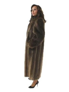 Full Length Long Hair Beaver Fur Coat