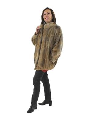 Natural Sheared Muskrat Fur Jacket