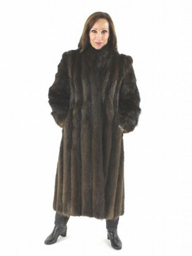 Full Length Long Hair Beaver Fur Coat