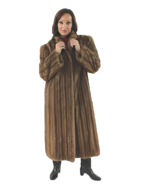Woman's Petite Demi Buff Mink Fur Coat