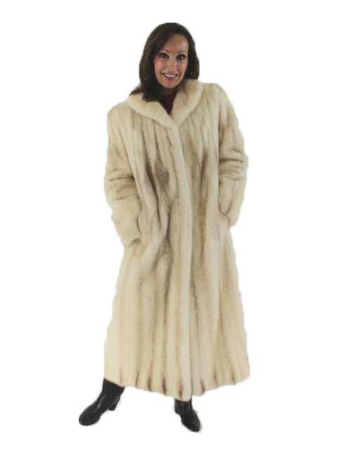 Rare Woman's Full Length Natural Cross Mink Fur Coat