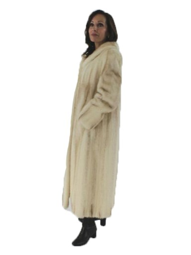 Full Length Natural Cross Mink  Fur Coat