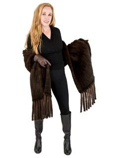 Woman's Mahogany Semi-Sheared Knit Mink Fur Shawl