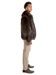 Man's Medium Tone Long Haired Beaver Fur Parka with Leather Inserts
