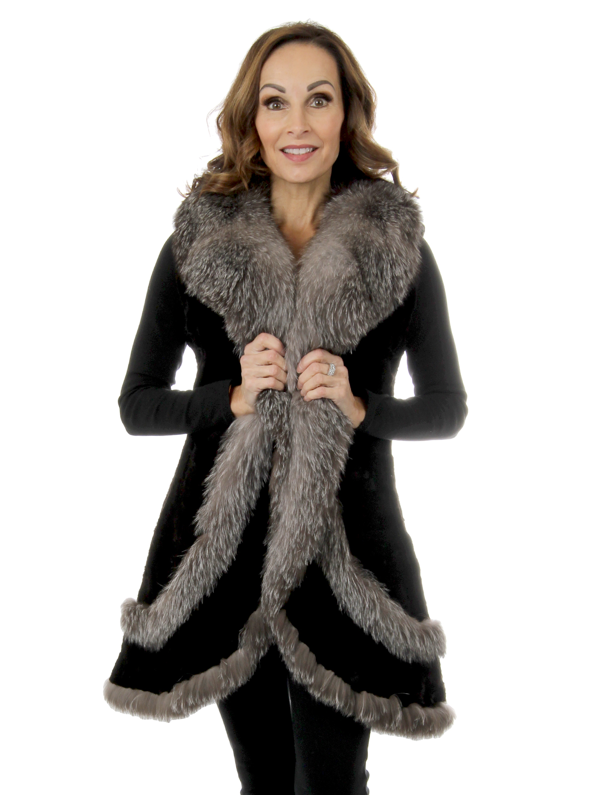Woman's Black Sectioned Mink Vest With Indigo Fox Trim