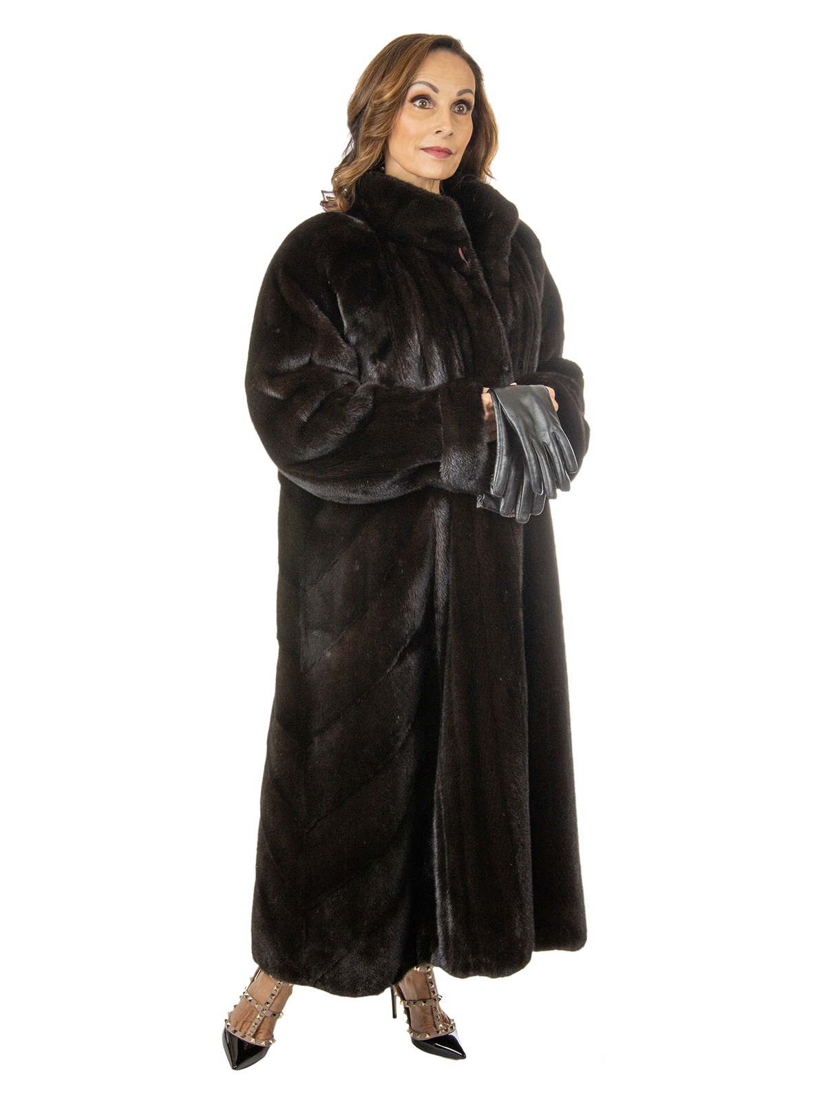 Woman's Black Diamond Label Female Mink Fur Coat