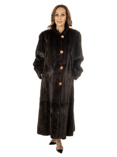 Woman's Brown Plucked Mink Fur Coat Reversible to All Weather Fabric