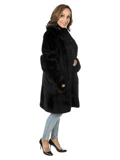 Woman's Black Sheared Nutria Fur Stroller with Leather Inserts