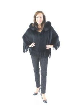 Knitted Rex Rabbit Fur Poncho