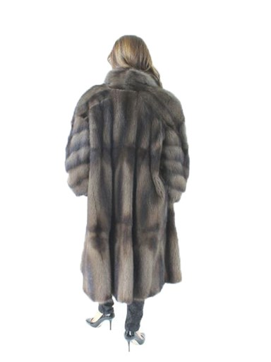Sweeping Dyed Fitch Fur Directional Coat
