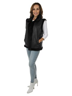 Woman's Black Sheared Mink Fur Vest Reversible to Leather