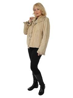 Woman's Beige Sheared Mink Fur Jacket Reversing to Rain Tafetta