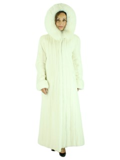 Woman's White Reversible Female Mink Fur Coat with Hood