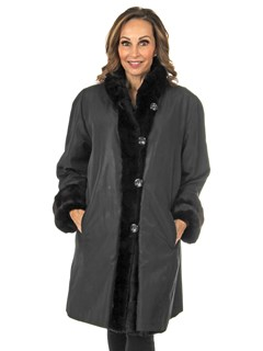 Woman's Black Sheared Mink Fur Stroller Reverses to Rain Taffeta