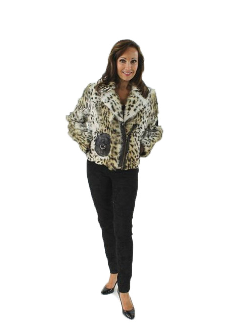Woman's Leopard Print Goat Fur Jacket with Leather Trim