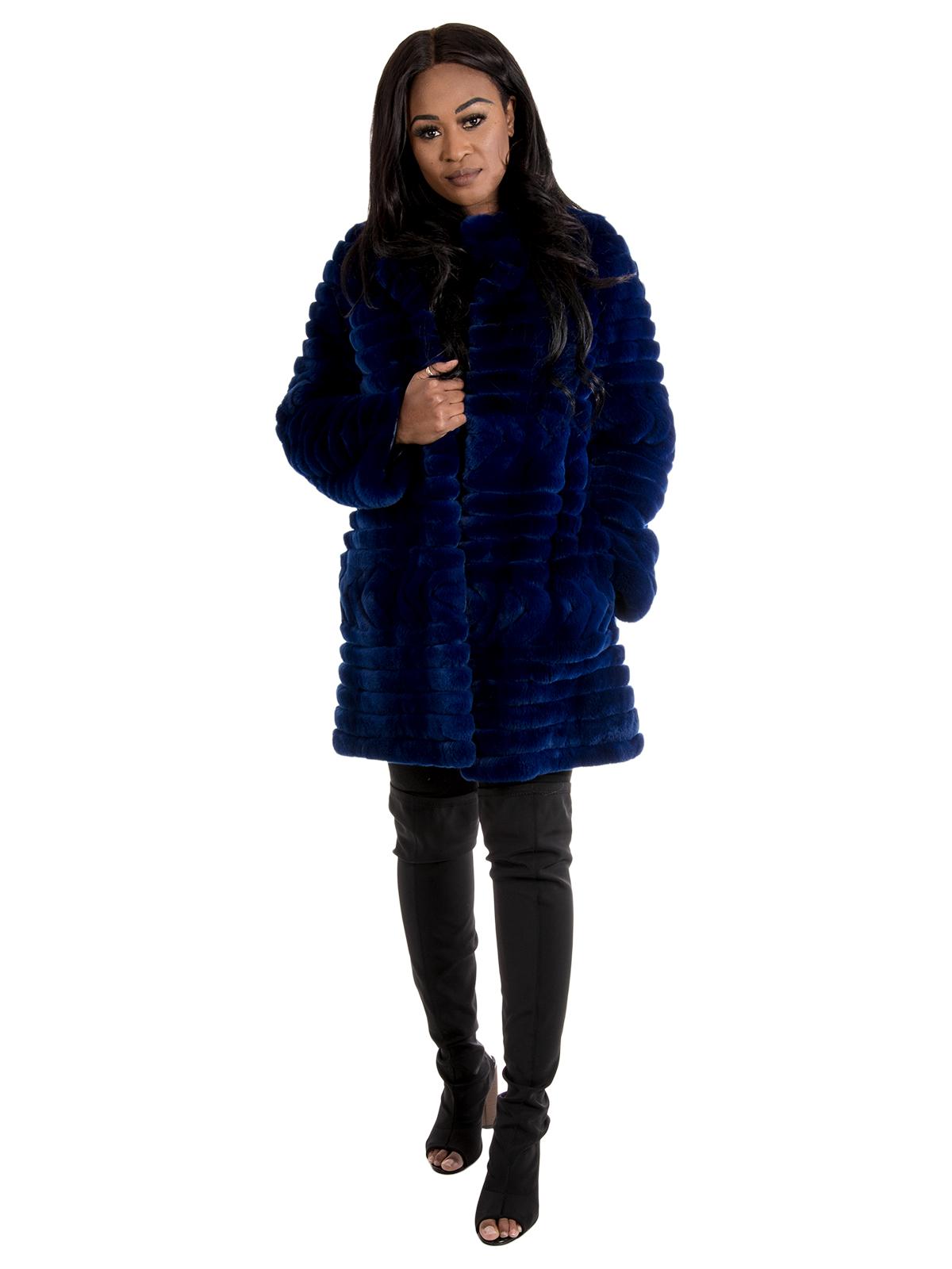 Woman's New Royal Blue Sheared Rex Rabbit Fur Stroller