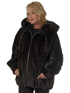 Woman's Dark Brown Sheared Mink Parka Reversing to Brown Leather