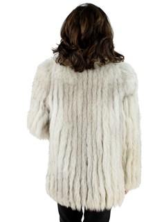 Woman's Natural Blue Fox Cord Cut Fur Jacket