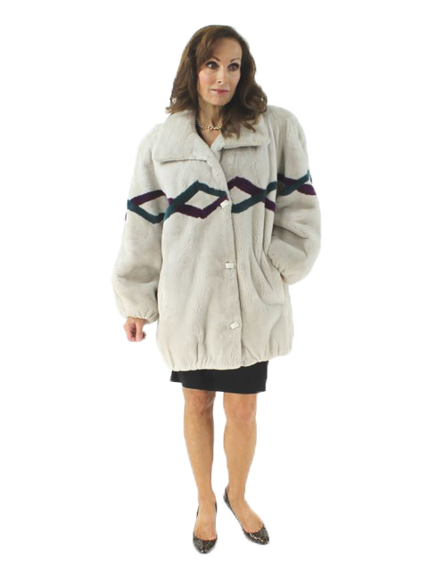 Woman's Oyster Sheared Beaver Jacket Berry Teal Accents