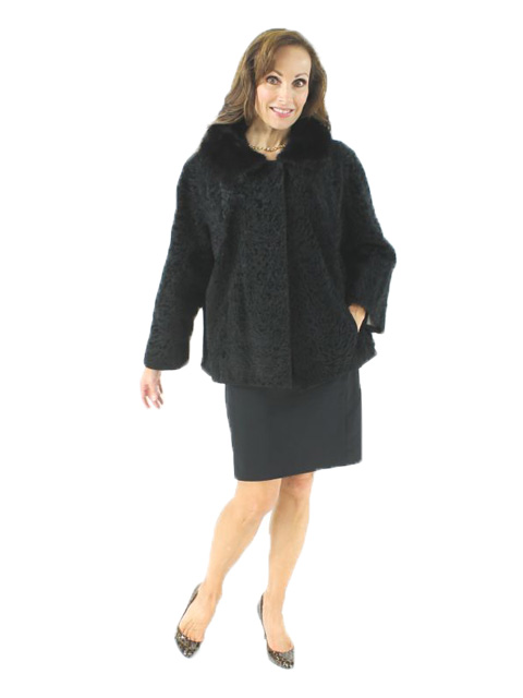 Woman's Black Broadtail Lamb Fur Jacket