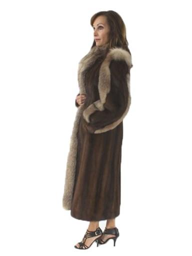 Lunaraine Mink Fur Coat Crystal Fox Trim