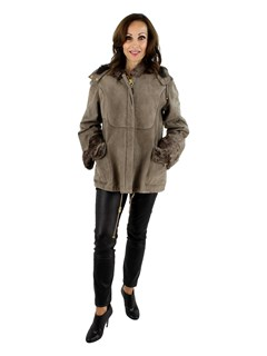 NEW Woman's Petite Rizal Hooded Taupe Chevraux Lamb Jacket