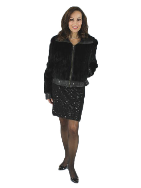 Ranch Mink Fur Section Moto Jacket Leather Trim