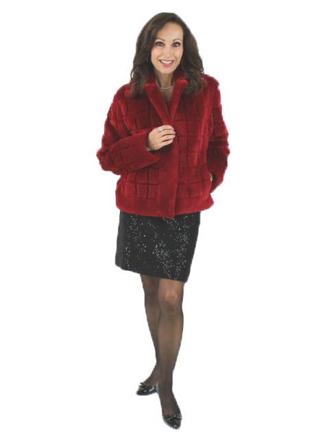Cherry Red Grooved Sheared Beaver Jacket