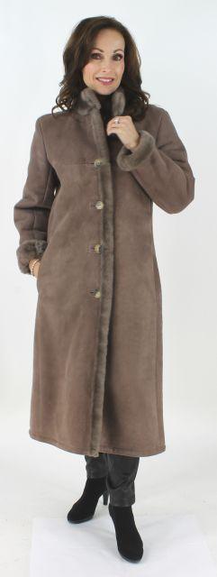 Woman's Mocha Fitted Petite Full Length Shearling Coat