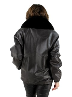 Woman's Dark Brown Leather Bomber Jacket