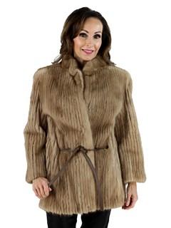 Woman's Pastel Mink Fur Cord Cut Jacket