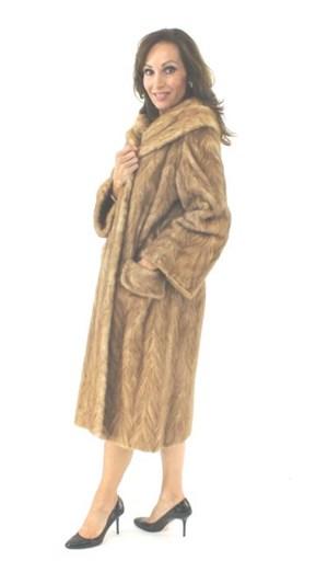 Pastel Mink Fur Section Coat