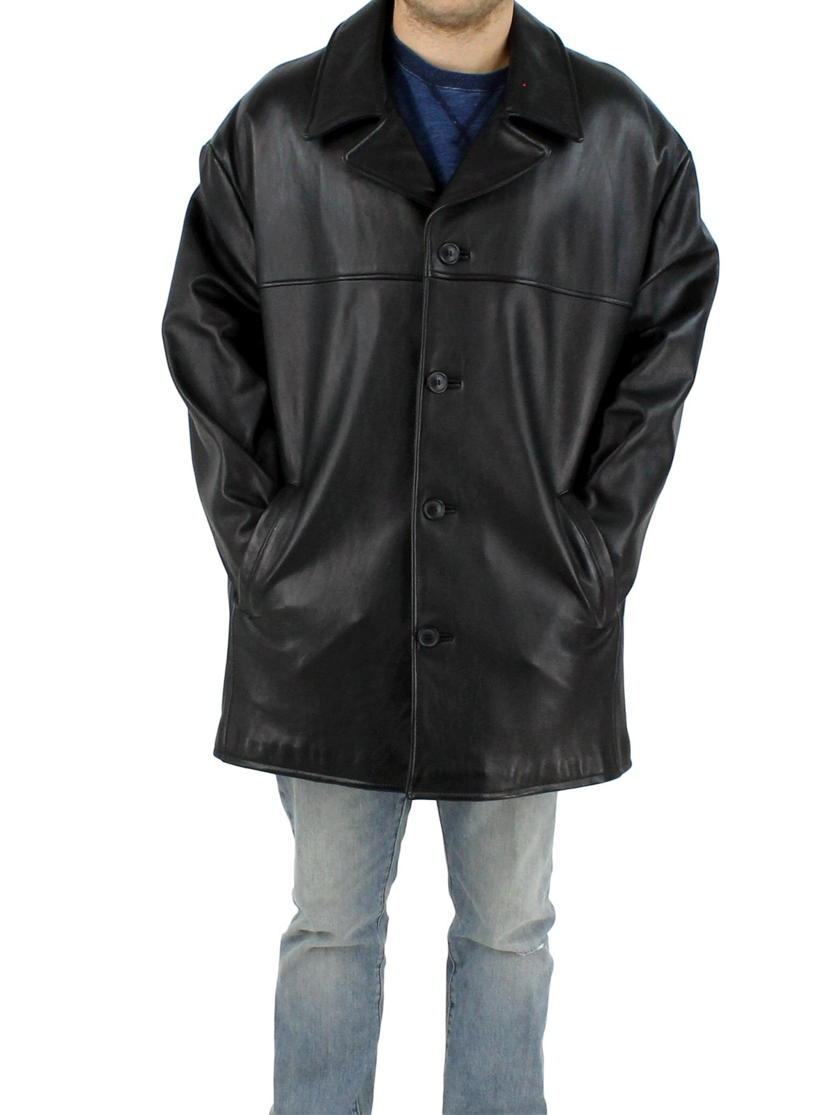 NEW Man's Black Leather Jacket with Removable Thinsulate Lining