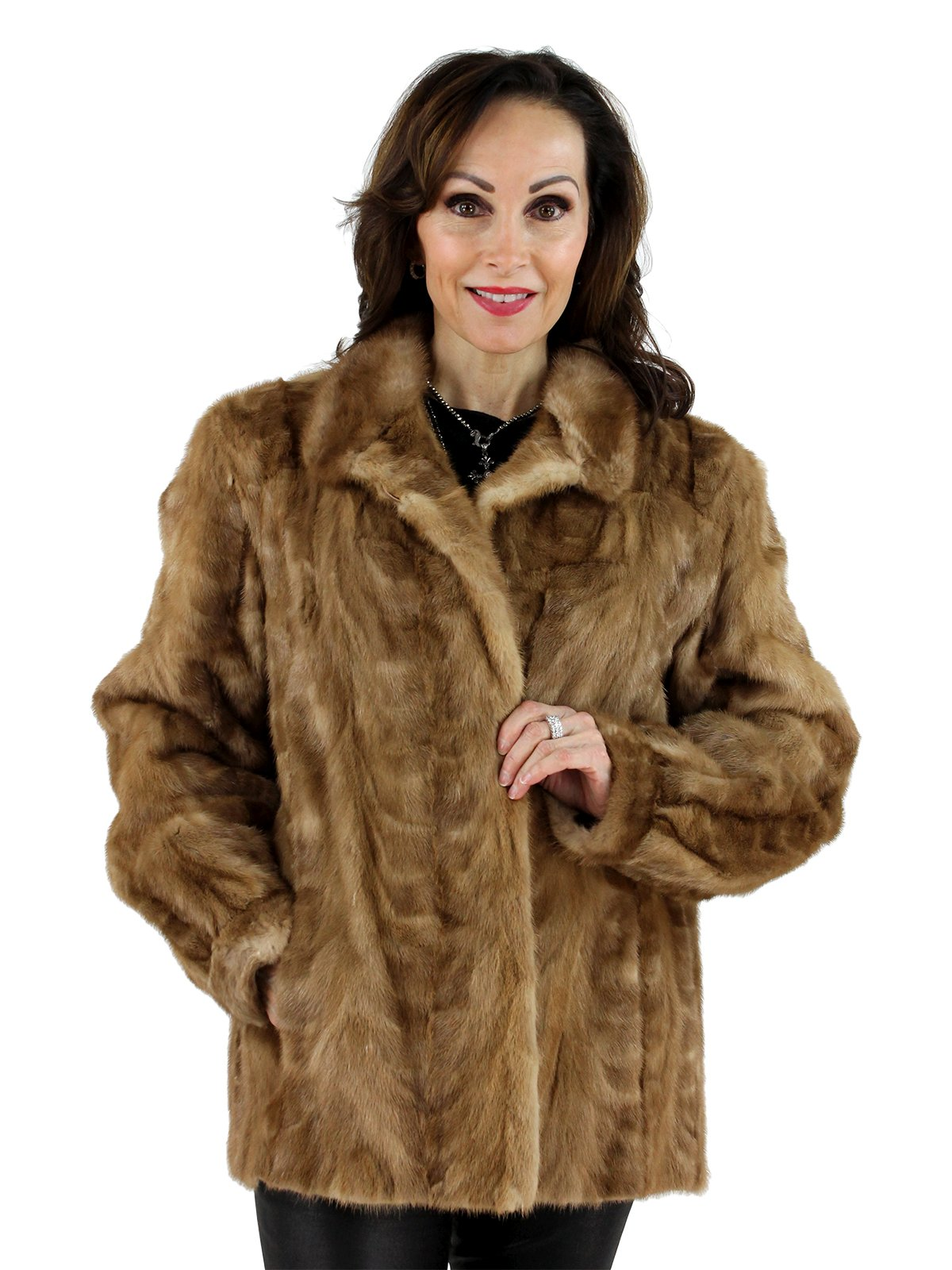 Pastel Mink Fur Section Jacket Women S Large Estate Furs